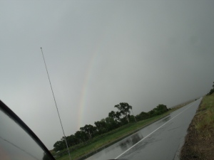 Gen took this pic of the rainbow that followed the hail and rain.