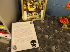 There is an explanation of Dia de los Muertos along with the pictures.  This is part of Ysabela's State Fair exhibit.