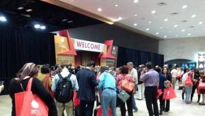The scene outside the exhibitor's hall....