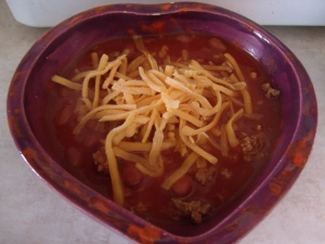 Bela's chili was even served in a heart-shaped bowl made by our school's art teacher.