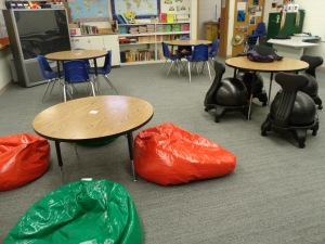 Bean bag chairs and ball chairs...how cool is that?