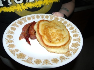 Bela loves bacon and pancakes!