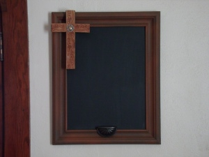 This is the smaller of the chalk boards.