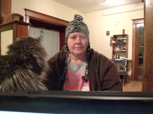 I was cold, and Bela told me to try on her hat.  Do I look happy?